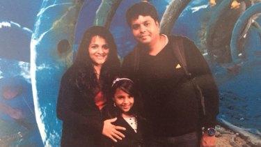 Prabha Arun Kumar with her husband Arun and daughter Meghana.