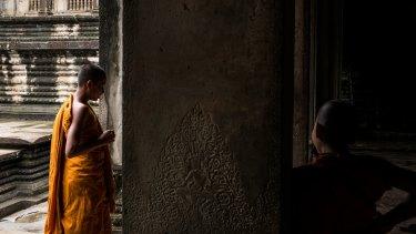 Monks at the Angkor Wat temple.