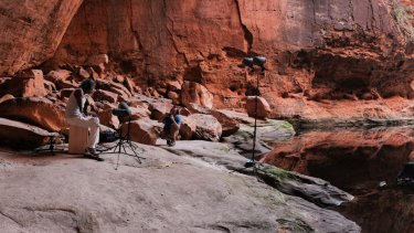 Bart Willoughby records a drum track with field sound recordist and audio engineer, Nick Harrison in at the base of the Cathedral Gorge.