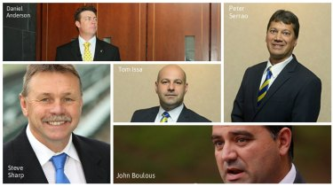 "The so-called ""Gang of Five"": Parramatta officials Daniel Anderson, Steve Sharp, Tom Issa, John Boulous and Peter Serrao."