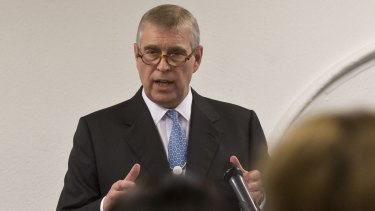 A denial: Prince Andrew speaks to business leaders during a reception on the sidelines of the World Economic Forum in Davos.