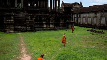 Monks at the Angkor Wat temple in Cambodia.
