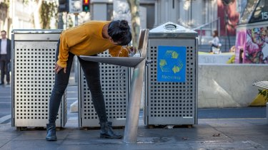 Melbourne's street furniture such as bins and water fountains have a sleek, minimalist look.