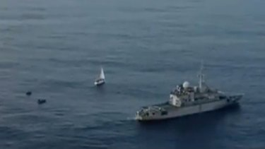 The yacht Vague a L'ame is intercepted by the French Polynesia Armed Forces near Tahiti.