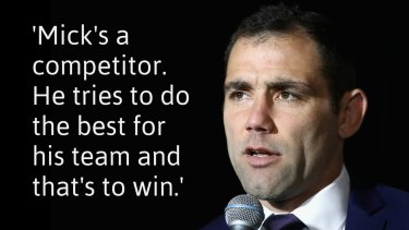 Begrudging respect: Cameron Smith on Michael Ennis.