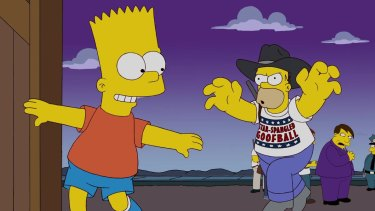 Coming to Homerica  ... Homer Simpson forms the Star Spangled Goofballs to patrol Springfield's borders.