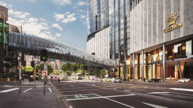 "Crown's proposed ""sky bridge"" over Queensbridge Street."
