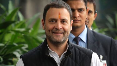 Congress party vice president Rahul Gandhi on the day he filed his nomination as Congress party president.