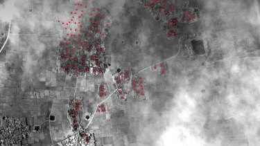 HRW says at least 164 Rohingya buildings were destroyed in Ah Shey village, Myanmar.