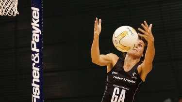 Tania Dalton makes a mid-air catch during the third netball test match between the New Zealand Silver Ferns and Australia in 2006.