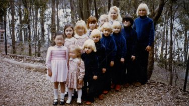 The children of cult The Family were dressed alike and many had their hair dyed blonde.