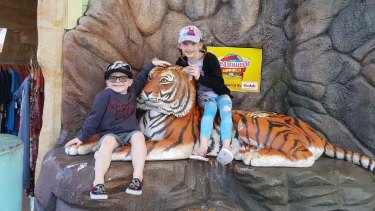Max at Dreamworld with a tiger statue - he hopes to see the real thing up close through a GoFundMe campaign.