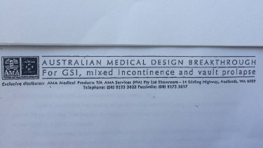 """An Australian Medical Association document describing the IVS Tunneller device as an """"Australian medical design breakthrough"""" to treat incontinence and prolapse in women."""