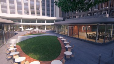 An artist's impression of what the plaza will look like once it is redeveloped.