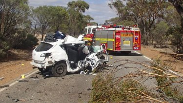 The scene of a fatal crash in Jennapullin on Sunday.