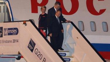 Russian President Vladimir Putin arrives at Brisbane Airport.