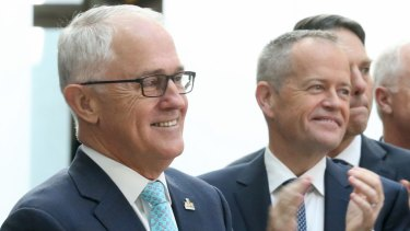 Prime Minister Malcolm Turnbull with Opposition Leader Bill Shorten.