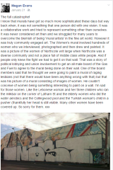 A Facebook post from artist Megan Evans criticising the vandalism.