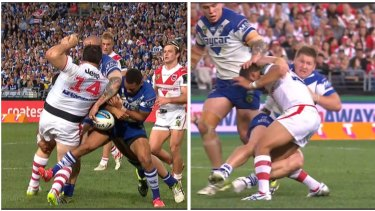 Leg work: Moses Mybe tackles George Rose, left, and Greg Eastwood brings down Benji Marshall.