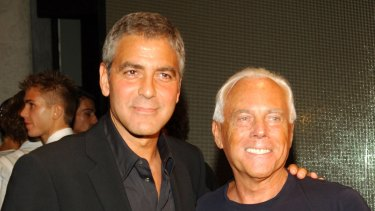 Georgio Armani (pictured here with George Clooney) established his reputation in menswear, and throughout the 1980s and '90s his notoriety and acclaim grew.