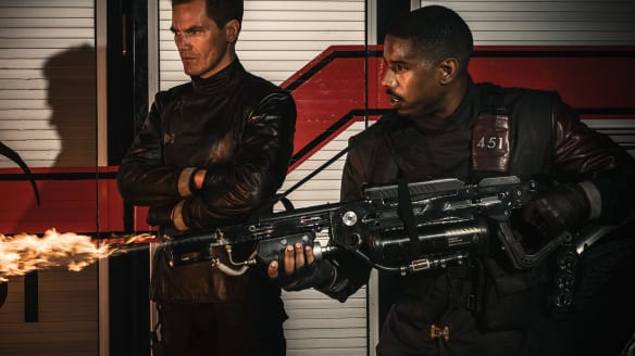 Keir Dullea and Michael B Jordan in Fahrenheit 451.