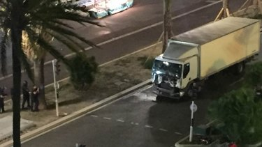 The white delivery truck that ploughed into a crowd in Nice on Bastille Day.