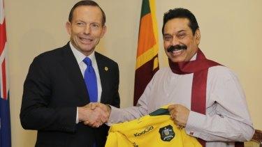Tony Abbott with then president Mahinda Rajapaksa during a 2013 visit to Sri Lanka.