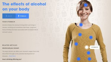 Drinkwise website's interactive about the impact of alcohol on the body.
