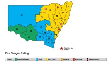 Fire danger across New South Wales on December 2, 2016.