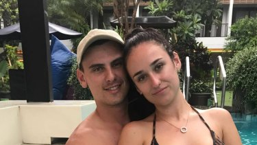 School leavers Taylah Kark and Karl Cleary from Sydney say they are trying to remain positive after becoming stranded in Bali as a large eruption at Mount Agung appears imminent.