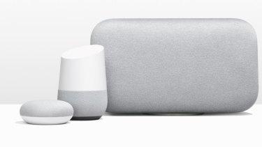 The big new Google Home Max, alongside the original Home and the tiny Home Mini.