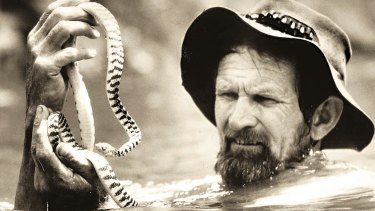 Harry, pictured in 1973, with a venomous brown tree snake.