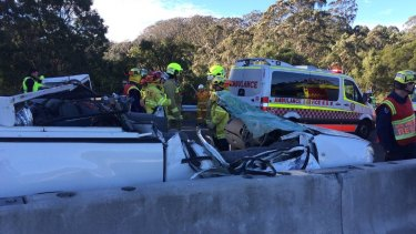 The cabin of the ute was crushed in the crash on the M1 at Cataract.