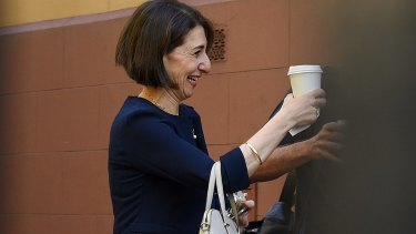 Gladys Berejiklian arrives at NSW Parliament House this morning.