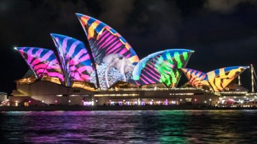 Lghts shimmer on the first night of Vivid at Sydney Opera House.