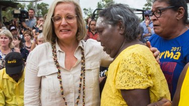 Lucy Turnbull embraces Eunice Yunupingu, Aunty to recently deceased Dr G Yunupingu during the Garma Festival in northeast Arnhem Land.