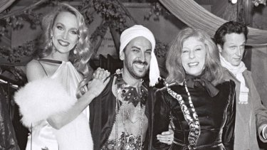Jerry Hall and Bettina Graziani at a party in Paris in 1980.