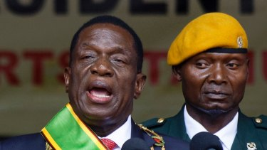 Zimbabwe's President Emmerson Mnangagwa speaks after being sworn in at the presidential inauguration ceremony in the capital Harare, Zimbabwe in November.