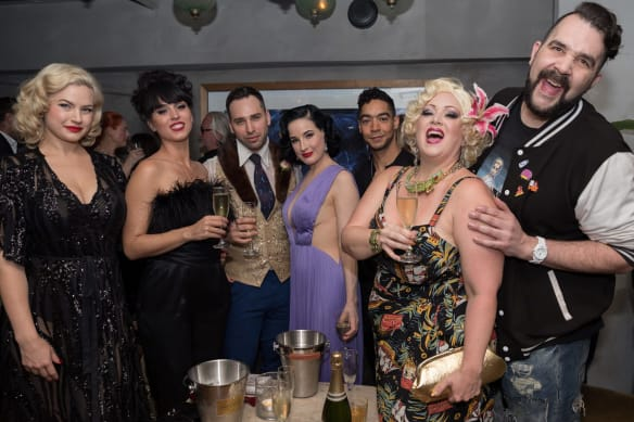 Unmissable: Dita Von Teese and her crew at Tatler in Sydney on Wednesday.