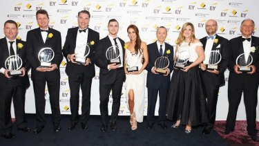Winners at the EY Entrepreneur of the Year Awards: James Spenceley; Vocus Communications, Timothy Power; 3P Learning, Dr James Muecke; Sight For All, Tobias Pearce and Kayla Itsines; The Bikini Body Training Company, Manny Stul; Moose Enterprise, Cyan Taeed and Collis Taeed; Envato, Brian White, Ray White Group