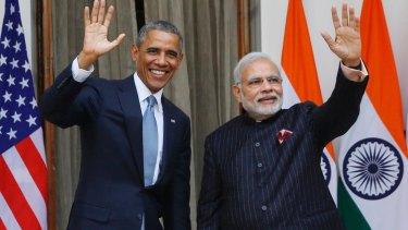 Former US president Barack Obama with Indian Prime Minister Narendra Modi in January 2015.