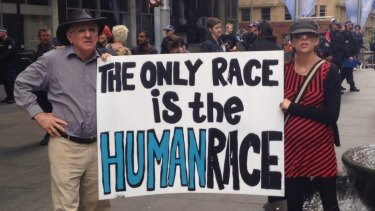 Protesters at the anti-racism rally in Martin Place.