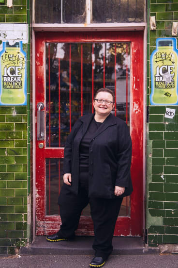 Maria Katsonis outside what had been her parents' milkbar.