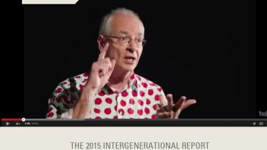 Dr Karl Kruszelnicki in the Intergenerational Report advertisement.