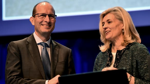 AMP chief executive Craig Meller and chairman Catherine Brenner.