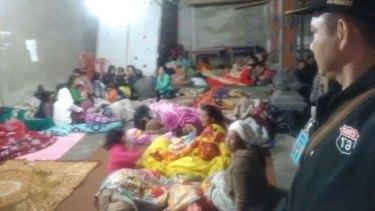 Evacuees take shelter as Bali's Mount Agung threatens to erupt.