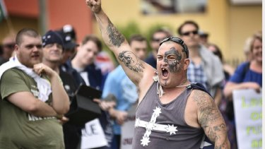 This photo of Nathan Paterson at the Reclaim Australia rally was shared widely at the weekend.