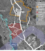 "The Yass council's 5km buffer zone north of the ACT's border, in purple, with the exemption carved out for Ginninderry at bottom left. The proposed ""Jeir"" development area in red has been abandoned."