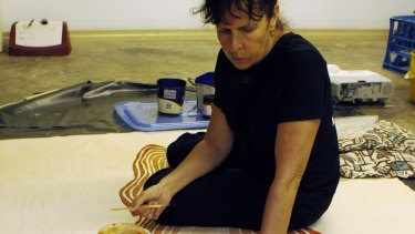 Judy Watson working on her piece, Mt Riddell.