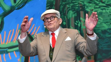 David Hockney at a preview of his NGV exhibition on Thursday.